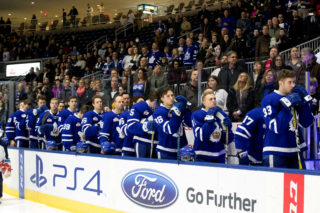 Marlies players stand for the national anthem