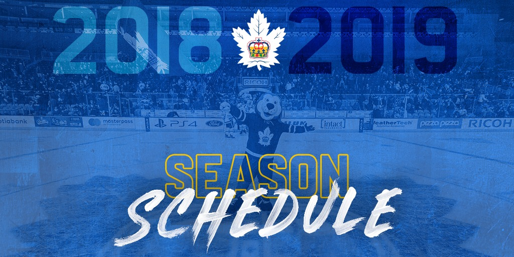 ca7ee74a6 The Toronto Marlies announced today their schedule for the upcoming 2018-19  season. The defending Calder Cup champions will open their season on the  road ...